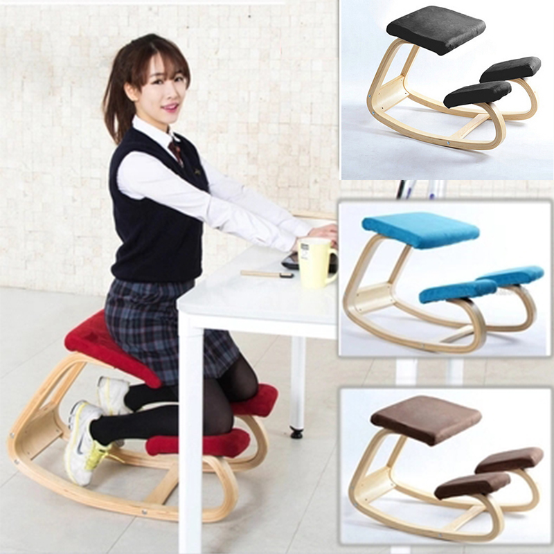 цена на Ergonomic Kneeling Chair Stool Home Office Furniture Ergonomic Rocking Wooden Kneeling Computer Posture Chair Design2018 NEW