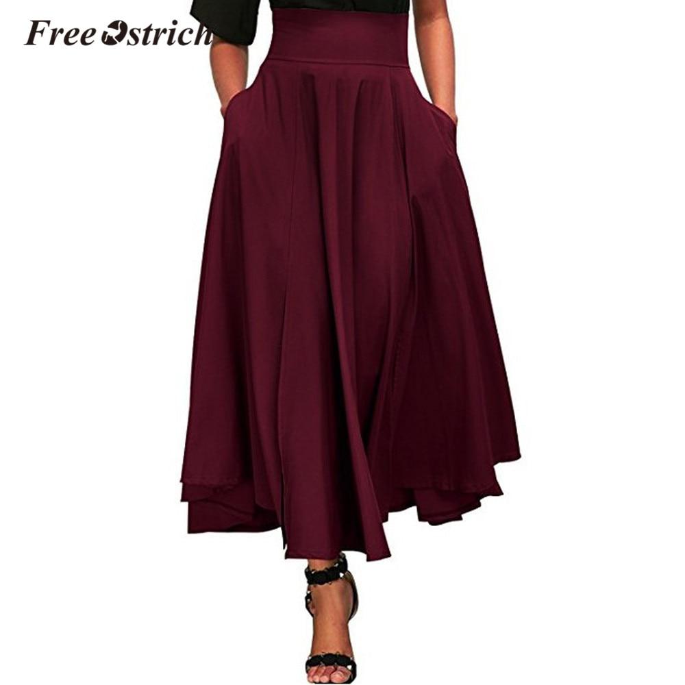 e3e52b245 Faldas largas de verano 2019 de avestruz para mujer de cintura alta plisada  falda de línea A ...