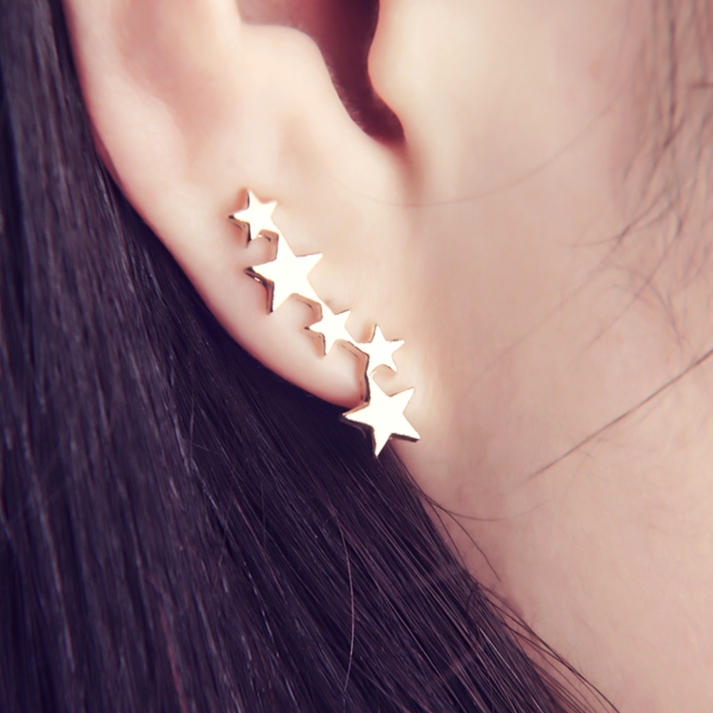 Moon Star Ear Climber Tiny Star Moon Stud Earrings For Women Teen Celestial Birthday Gift Jewelry Earring New Arrival