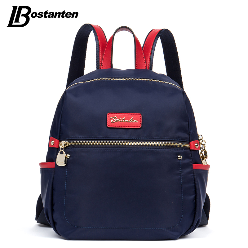 ФОТО Bostanten Women Backpack Nylon Fashion Black/Blue/Purple Zipper Casual School Bags For Teenagers Durable Waterproof Backpack