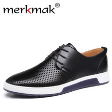 Men Casual Shoes Leather Summer Breathable Holes Luxury Brand Flat Shoes