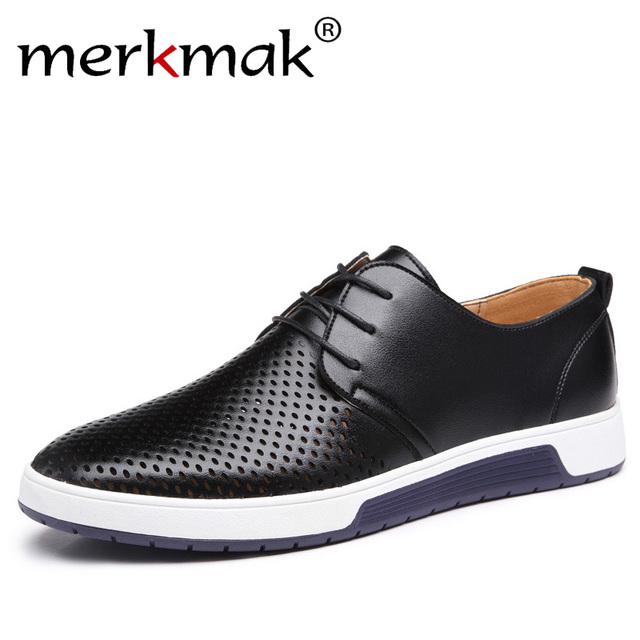 Men Casual Shoes Leather Summer Breathable Holes Luxury Flat Shoes