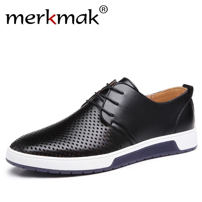 Merkmak Nuevo 2018 hombres zapatos casuales de cuero transpirable verano agujeros planos de la marca de lujo para los hombres envío de la gota