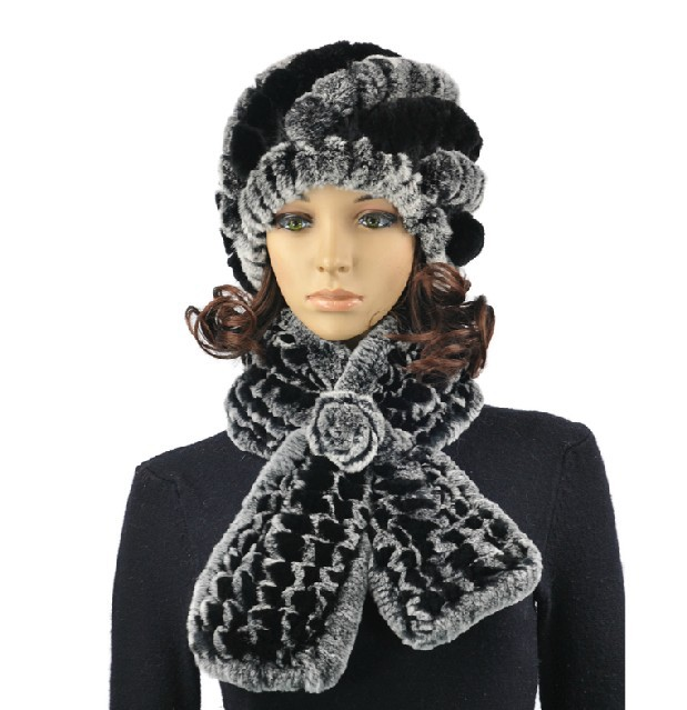 knitted fur cap set Best female gift  autumn winter hat with natural rex  rabbit fur soft  plaid scarf for women ,H784
