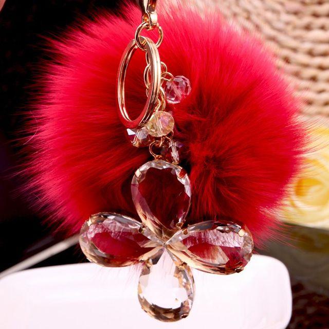 Красный брелок 8 см брелоки брелок высоко натурального меха кролика шар для женщин сумочке автомобиля пом для BMW мини Benz