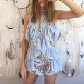 """""""Pre Order"""" 2017 Fashion Lace Ice Blue Hollow Out Ruffle Off Shoulder Playsuits Sexy Lady Playsuit Rompers Women Jumpsuit"""
