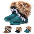 Модные толстые тёплые сапоги  Высокие длинные снегоступы Ботинки из искусственного  меха лиса и  кожи кролика  Женская обувь осенью и зимой 2015