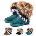 2016 moda otoño Grueso y calientes del invierno altas botas de nieve botas de gamuza de imitación artificial de zorro conejo borla de cuero de las mujeres zapatos
