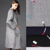 Gray Painting Wool Fabric Wool Cashmere Fabric Patchwork Fabric Wool Cloth Fabric Material Diy Sewing Women