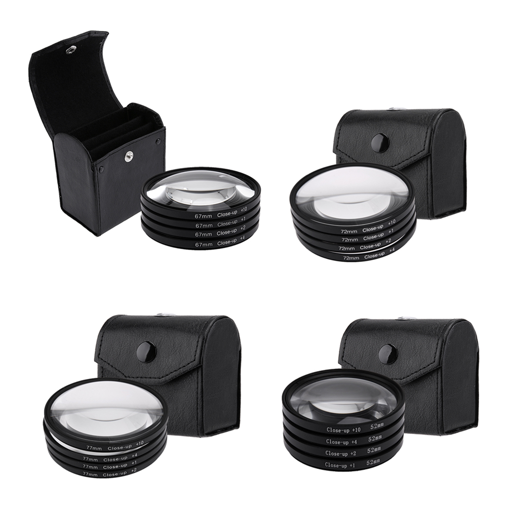52mm 67mm 72mm 77mm Macro Close-Up Filter Set +1 +2 +4 +10 Lens with Pouch Macro Lens Filter Kit for Canon DSLR Camera close up 1 2 4 10 lens filters set black 67mm 4 pcs