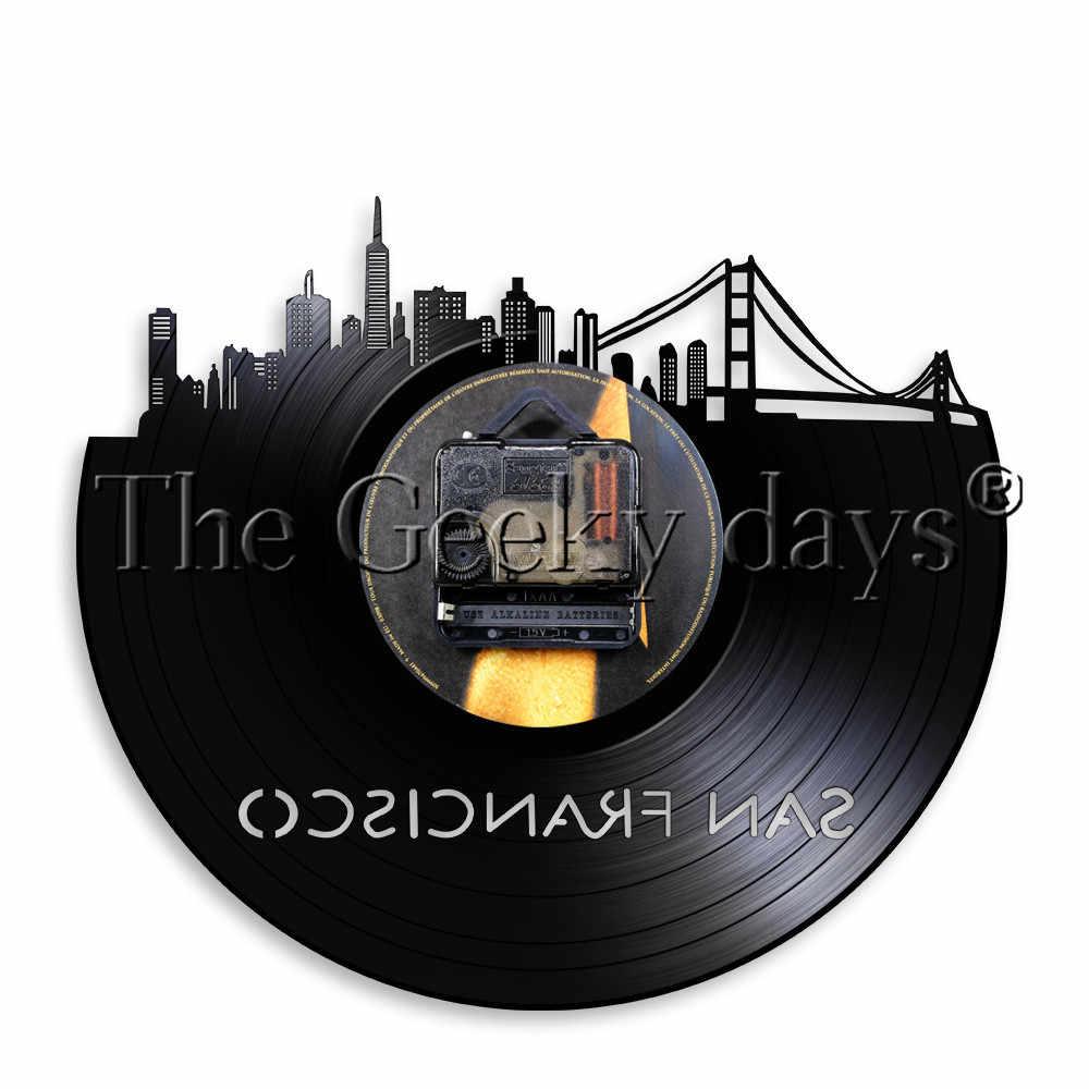 San Francisco Cityscape Vinyl Record Wall Clock Bay Area Golden Gate Bridge Art