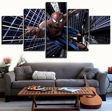 Wall Art Film Animation Poster 5 Panels Comics Spider Man Modern Home Decor Pictures Artwork On Canvas Printed Painting