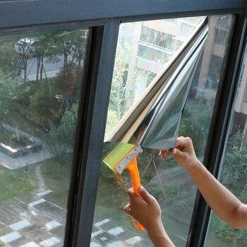 50 на 200 см Черно-серебристая самоклеящаяся виниловая односторонняя зеркальная пленка с зеркальным эффектом, пленка с защитой от ультрафиолета, контроль тепла