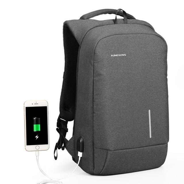 Kingsons рюкзак для мужчин 15,6 дюймов ноутбук Противоугонный рюкзак зарядка через usb мини-рюкзак для подростков мальчиков большая школьная деловая сумка