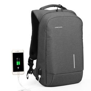 Image 1 - Kingsons Backpack Men Women 15.6 inch Laptop Anti Theft Bagpack USB Charging Mini Back Pack for Teen School Business Bag mochila