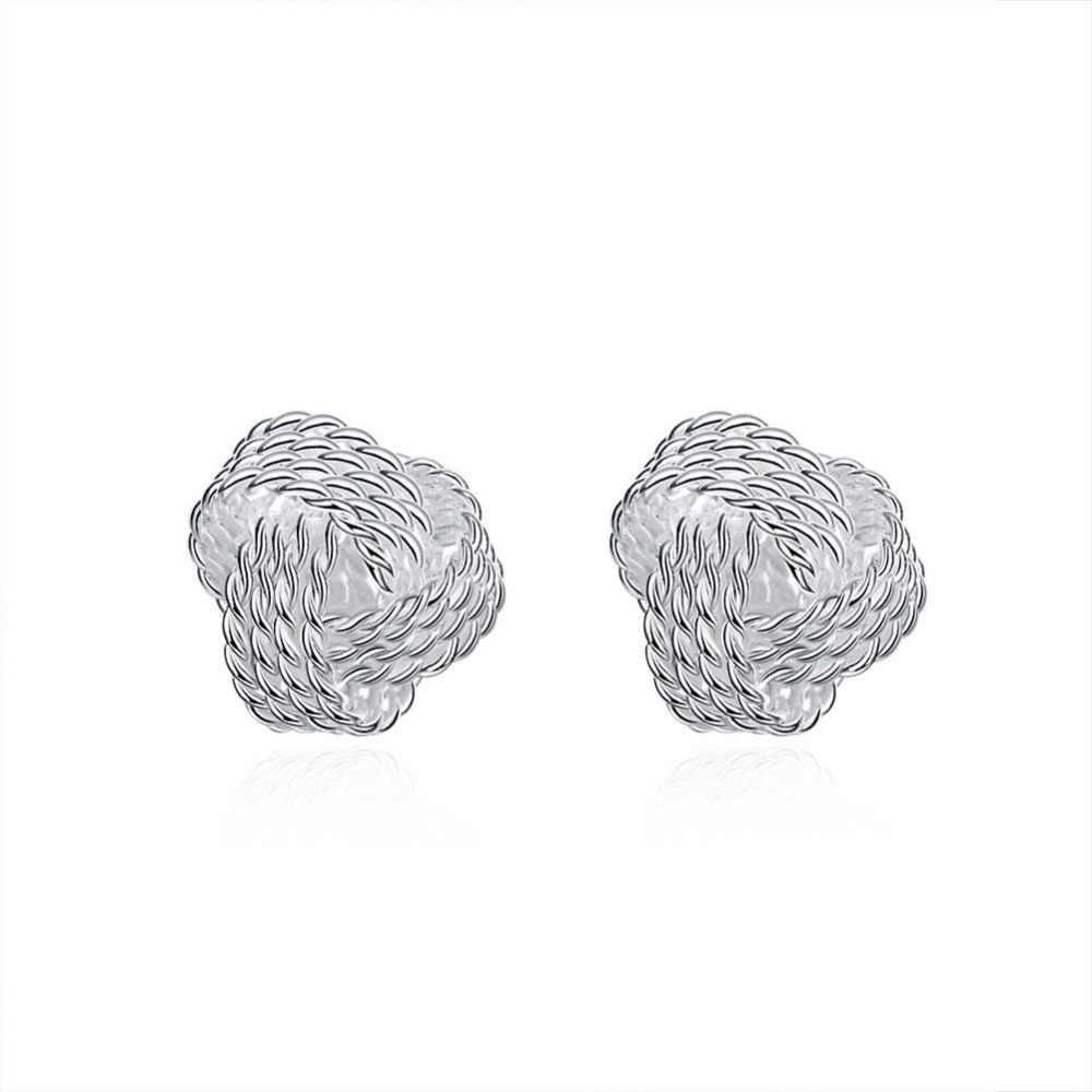 Bonito nova moda 925 jóias de prata chapeado tênis net web stud earings para mulheres meninas estilo verão bola brinco orelha studs