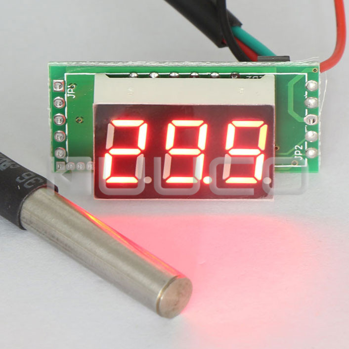 DC 12V/24V Temperature Meter -55 to 125 Celsius Degree Red LED Digital Thermometer for Aquarium/Laboratory/chiller and DIY etc cold pressed murder