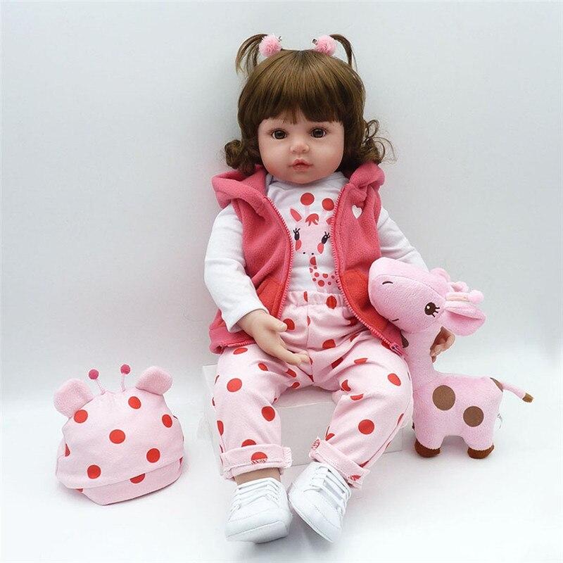 Npk bebes reborn boneca 48cm silicone macio reborn da criança do bebê bonecas com corpo de silicone menina surprice presentes lol boneca