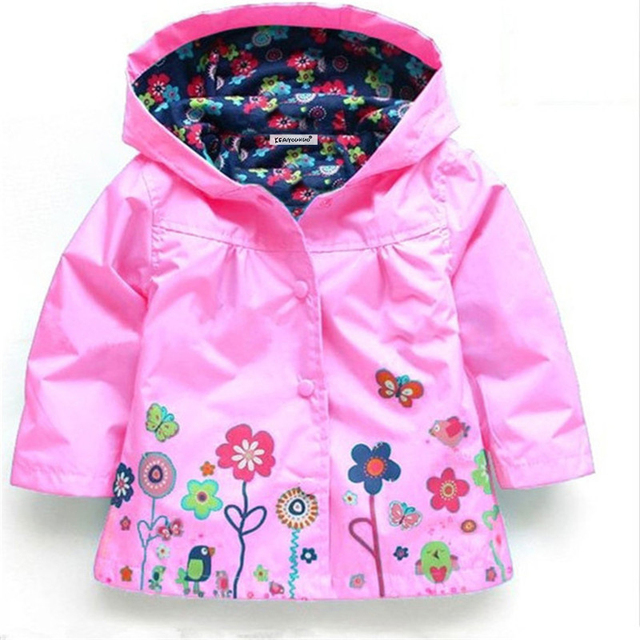 2-6 yrs Baby Girls Toddler hooded 2018 spring Autumn Girls Jackets casual Kids Outwear flower pattern Waterproof Children Coat 2