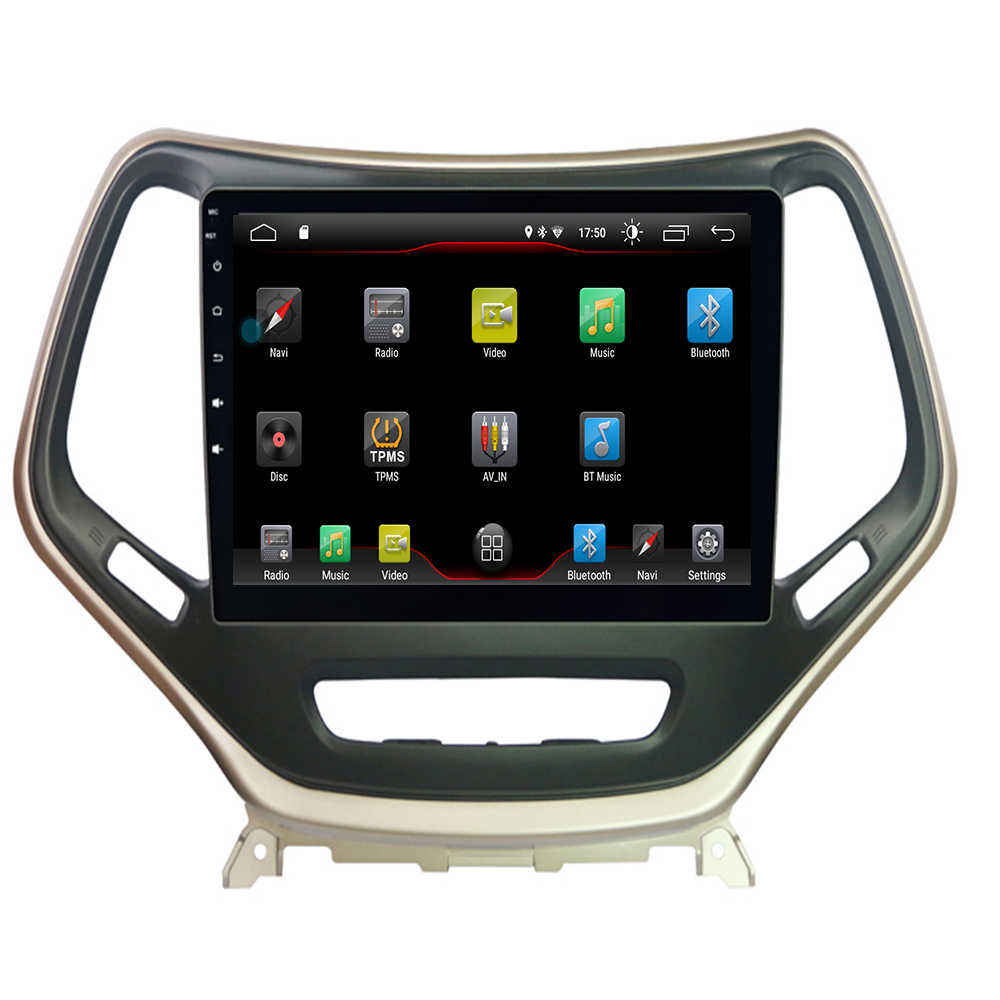 "Carro android 9.1 player multimídia para jeep cherokee kl 2014 2019 10.2-rádio estéreo gps mapa nav navi (sem cd dvd) ""tela hd"