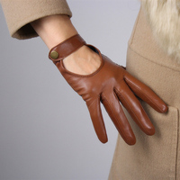 Women'S Touch Screen Leather Gloves Sheepskin Locomotive Showing The Back Of The Hand Brown Short Dark Button Silky Nylon Lining