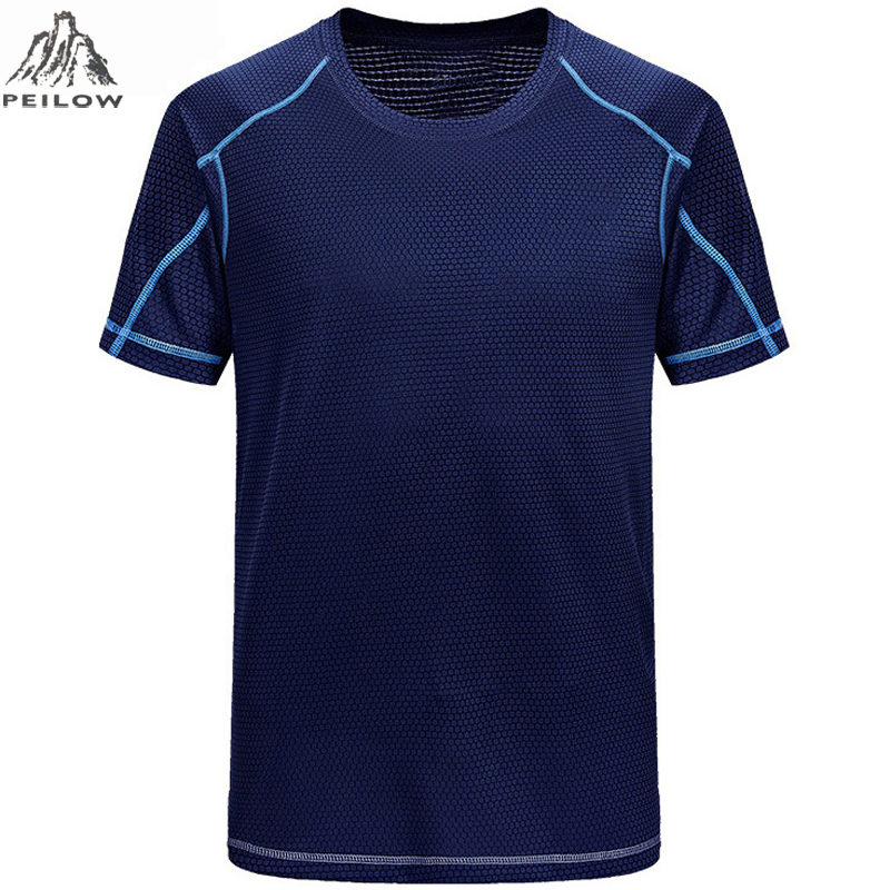 PEILOW Quick Dry Slim Fit Tees Men Printed T-Shirts Compression Shirt Tops Bodybuilding Fitness O-Neck Short Sleeve Male T Shirt