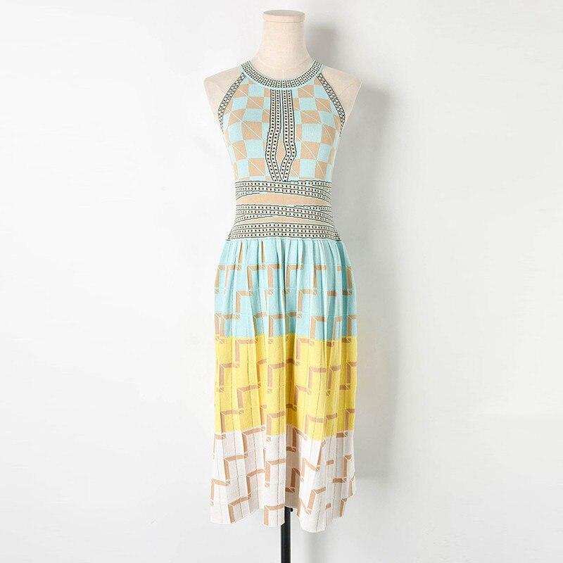 2019 été dames vacances vent couleur géométrique treillis suspendu cou sans manches tricot gilet robe femme Plaid élégant robe