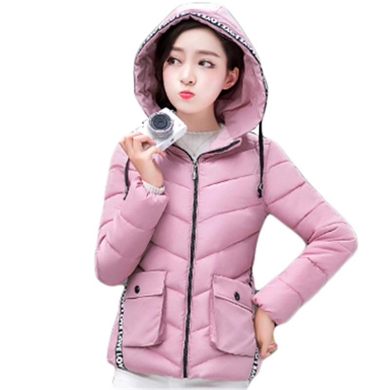 Kısa Stil Kadın Down Pamuk Ceket 2016 Kış Ince Sıcak Yastıklı Ceket Fermuar Kapüşonlu Wadded Giyim Kadın Kış Parka SS901