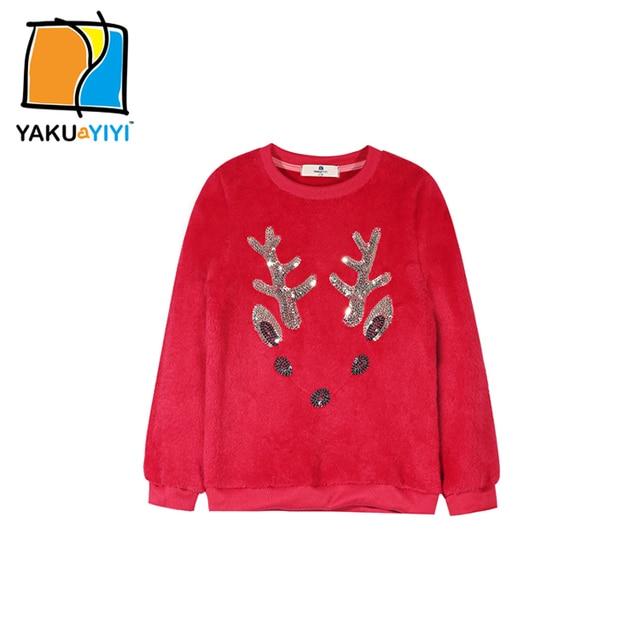 YKYY YAKUYIYI New Girls Sweatshirt Cartoon Deer Sequined Embroidery Baby Girls Pullover Tops Long Sleeve Children Clothing