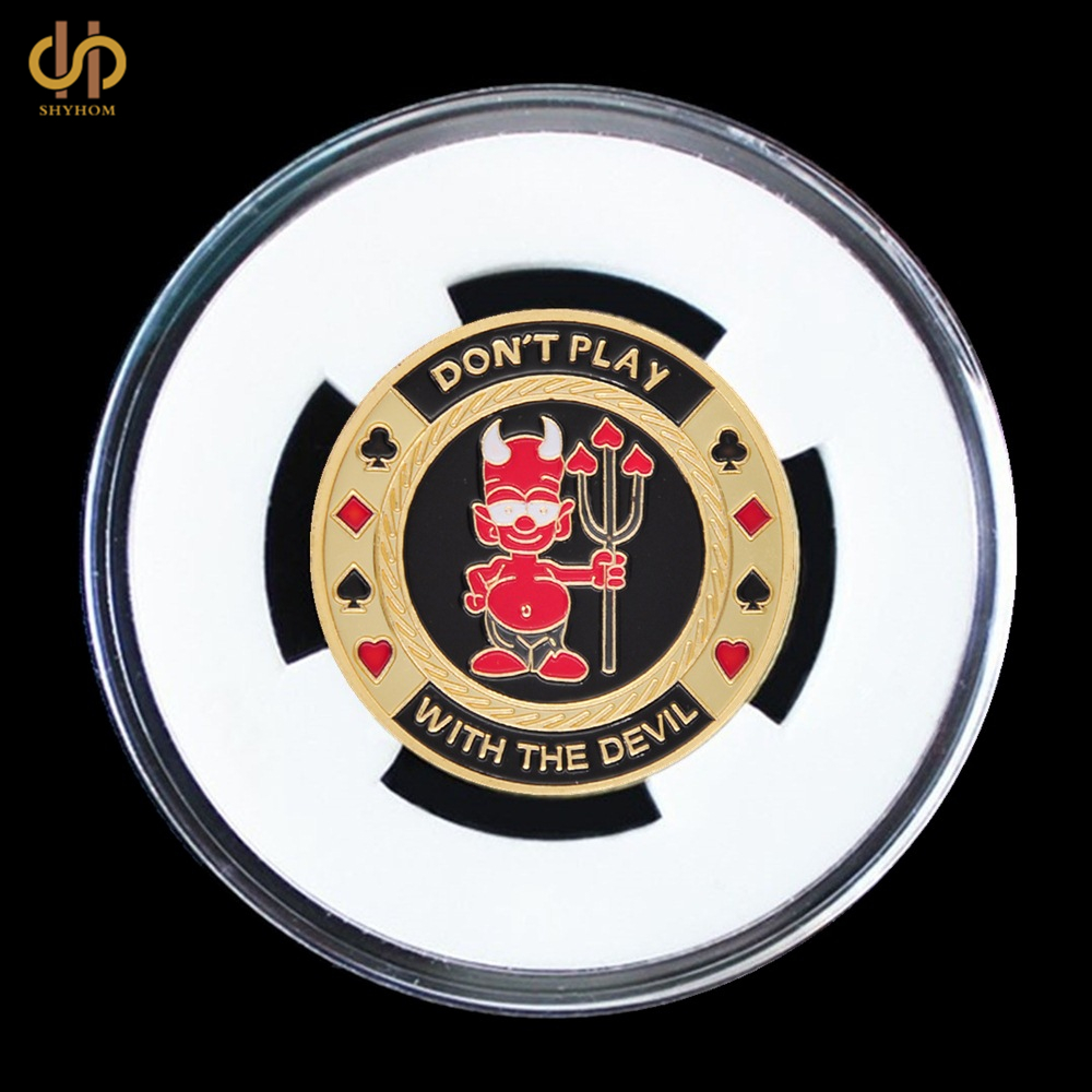 Dont Play with The Devil Poker Chip Casino Challenge Metal Coin Gold Plated Poker Card Guard With/ TGG Display