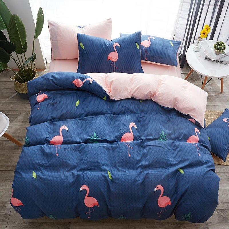 Oiseau 3 pièces/4 pièces été ensembles de literie doux housse de couette taie d'oreiller drap de lit linge de lit adulte enfants fille garçon mariage marier cadeau