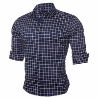 DICHUANGZHE 2017 New Long Sleeved Men S Shirt Cotton Leisure High Quality Classic Lattice Business Men