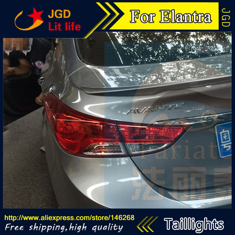 Car Styling tail lights for Hyundai Elantra LED Tail Lamp rear trunk lamp cover drl+signal+brake+reverse car styling tail lights for toyota prado 2011 2012 2013 led tail lamp rear trunk lamp cover drl signal brake reverse