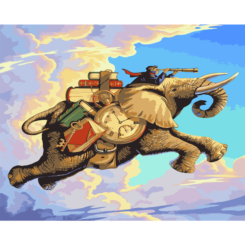 HAOCHU Europe Flying Elephant Clock Time DIY Painting By Numbers Oil Painting Funny Wall Picture Home Decor Artwork Cuadros