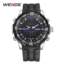 WEIDE Mens Digital Watch Alarm Date Stopwatch Back Light Day Dual Display Rubber Band Analog Quartz LCD Sport Wristwatches