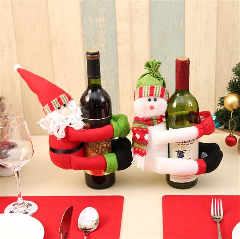 2 Set Bottiglia Di Vino Rosso Borse Di Copertura Abbraccio Babbo Natale Pupazzo Di Neve Tavolo Da Pranzo Decorazione Della Casa Festa Di Natale