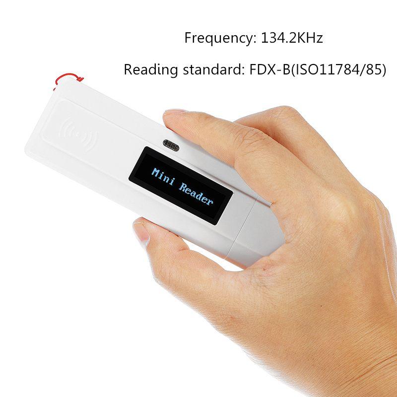 Efficace ISO11784/5 FDX-B Animal id lecteur de transpondeur à puce USB portable RFID puce scanner pour chien, chat, cheval