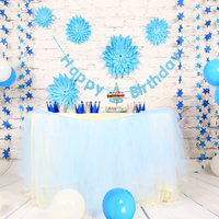 Happy Birthday Bunting Banner Sets Party Latex Balloons Paper Garland Baby Shower Girl First Birthday Party Decoration Supplies