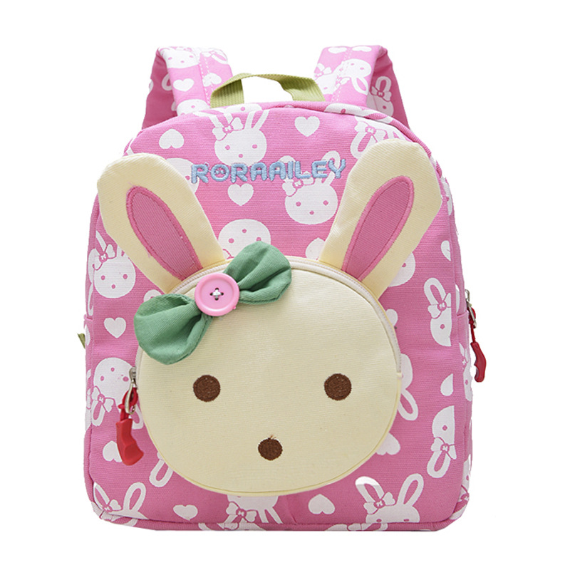 Children School Bags Cartoon Rabbit Bear Dolls Applique Canvas Backpack Mini Toddler Book Bag Baby Kindergarten Rucksacks