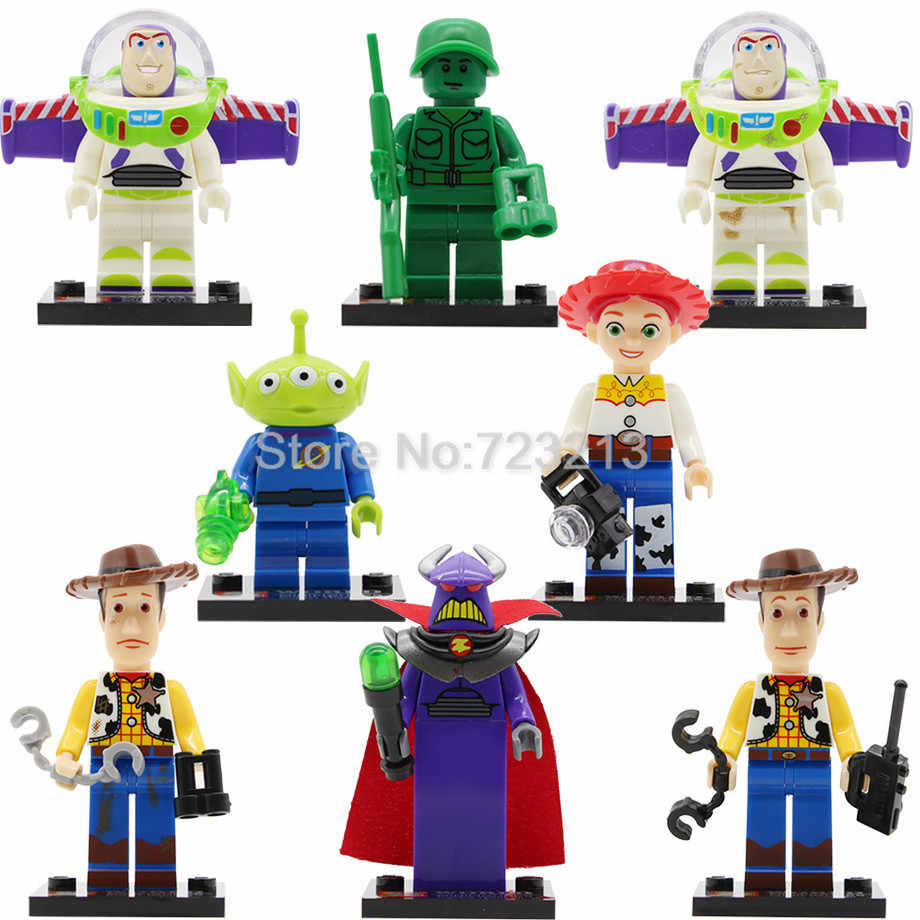 Única Venda IV Figura Buzz Lightyear de Toy Story Woody Jessie Aliens Dragon Building Blocks Set Modelos Brinquedos JR1712