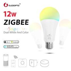 GLEDOPTO LED ZIGBEE 12 W RGB + AAC bombilla AC100-240V RGB y doble blanco e27 e26 dimmer LED Bombilla regulable lámpara RGBW/RGBWW trabajo alexa