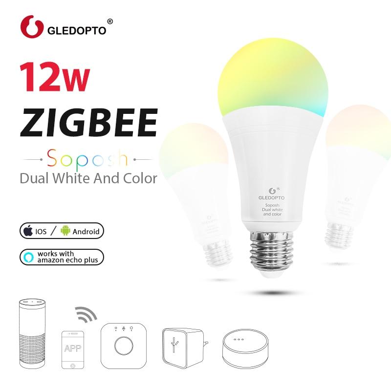 GLEDOPTO LED ZIGBEE 12W RGB+CCT bulb AC100 240V RGB and dual white e27 e26 dimmer LED bulb dimmable lamp RGBW/RGBWW work alexa