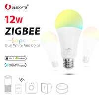 ZIGBEE LED 12W ampoule intelligente RGB lumière AC100-240V rgb et double blanc e27e26 variateur LED ampoule maison intelligente ww/cw 2700-6500K zigbee LED