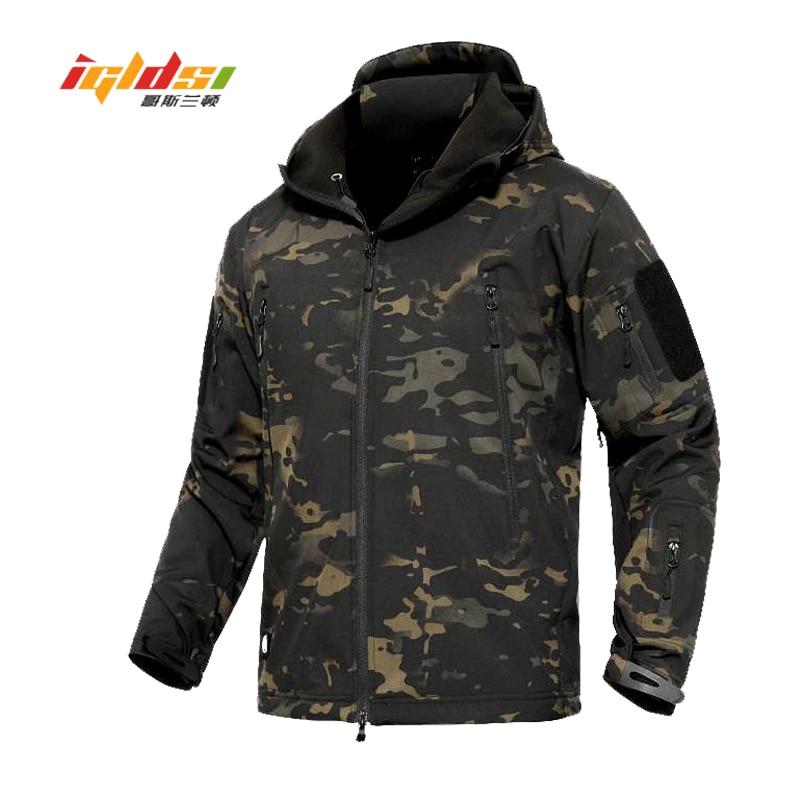 dedd5d4fffcfc Shark Skin V4 Soft Shell Military Tactical Jacket Men Waterproof Army Fleece  Coats Multicam Camouflage Combat Windbreakers 3XL