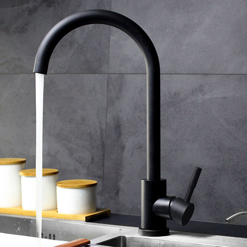 Black White 304 Stainless Steel Kitchen Faucets Cold and Hot Mixer Sink 360 Rotation Kitchen Water