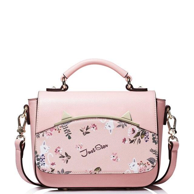 2017 Summer Flower Print Women's Top Handle Flap Handbag Cat Ears Shoulder Bags For Ladies High Quality PU Leather Crossbody Bag