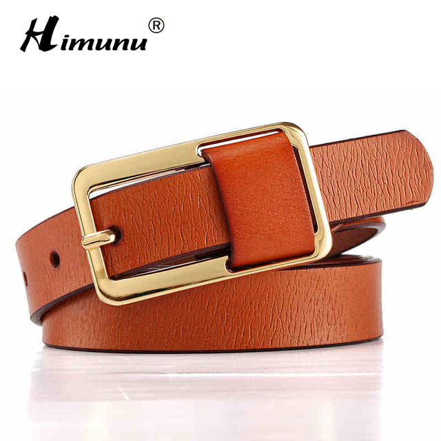 Hot Sale Brand Luxury Pin buckle 100% cowhide Female Belt for Women Hip-Hop Genuine Leather Jeans Girdles Belts Candy 8 colors