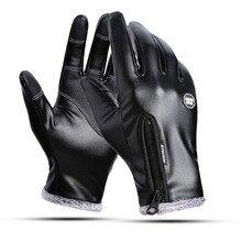 Зимние теплые мужские кожаные перчатки, черные перчатки с сенсорным экраном для мужчин, модные брендовые зимние теплые варежки, полный палец, ручная работа