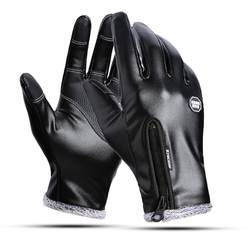 Зимние теплые мужские кожаные перчатки черные сенсорные перчатки для мужчин модные брендовые зимние теплые варежки полный палец handschuhe
