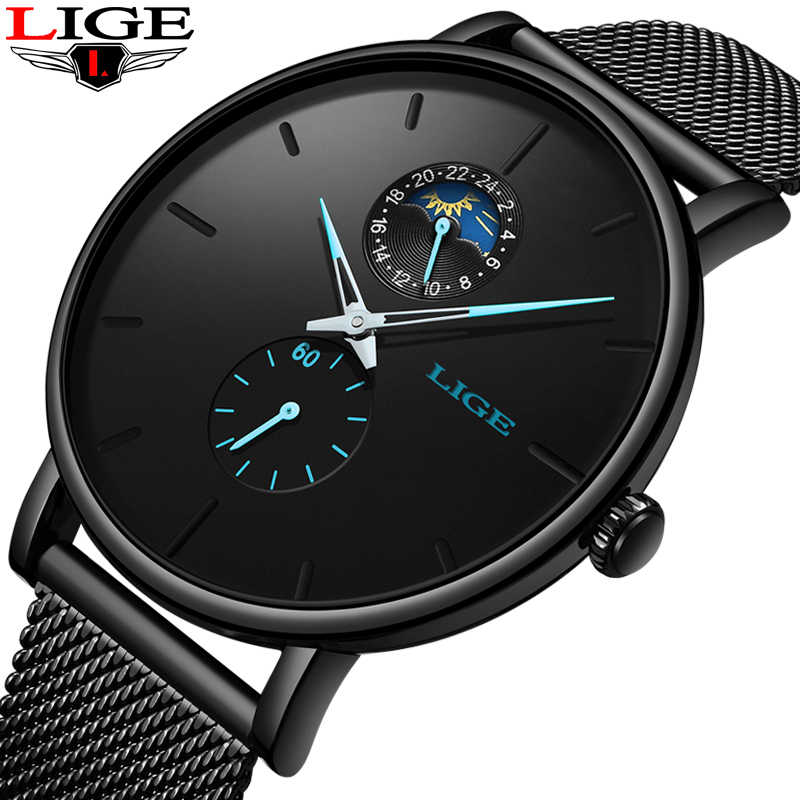 2019 New LIGE Simple Mens Watches Top Brand Luxury Male Casual Slim Mesh Belt Watch For Men Waterproof Quartz Clock Reloj Hombre